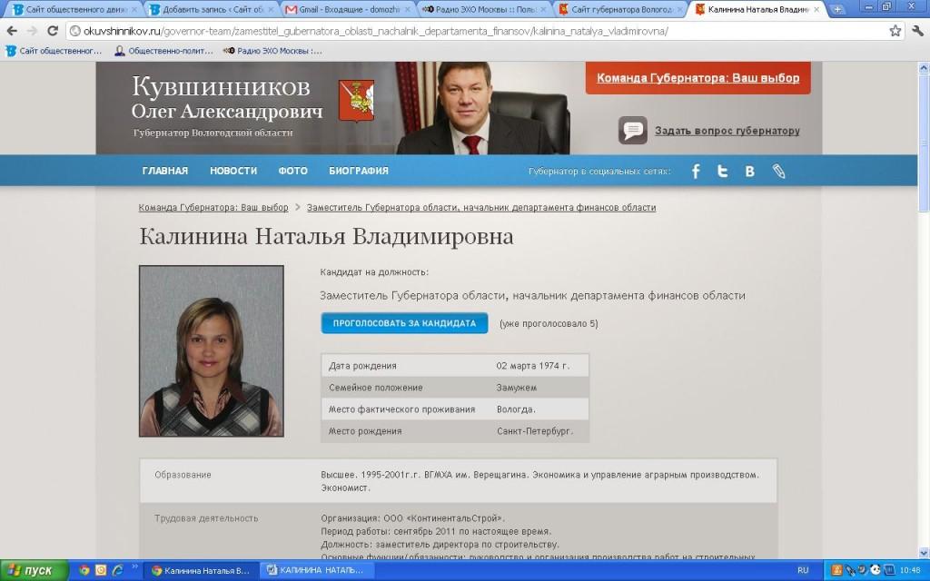 Команда губернатора — еще кандидат КАЛИНИНА  НАТАЛЬЯ  ВЛАДИМИРОВНА